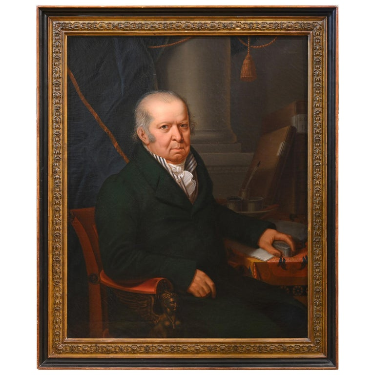 19th Century Portrait of David Schwab Switzerland Biel, Dated 1822, Sign Mente For Sale