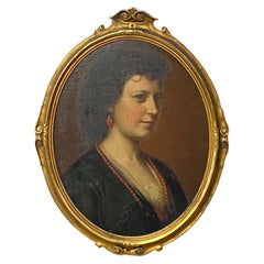 19th Century Portrait Painting of a Beautiful Young Woman, circa 1860