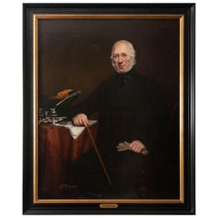 19th Century Portrait Painting of a Gentleman with a Cane