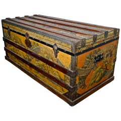 19th Century Portuguese Vintage Travel Chest or Steamer Trunk