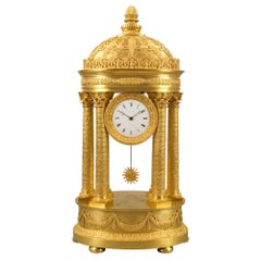19th Century, Possibly German, Neoclassical Style Ormolu Portico Clock