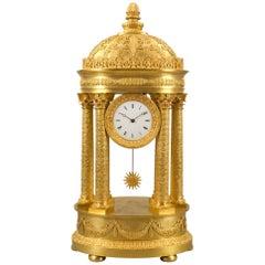 19th Century, Possibly German, Neoclassical Style Ormolu Portico Clock