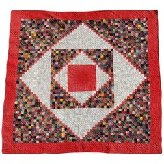 19th Century Postage Stamp Saw Tooth Diamond Quilt