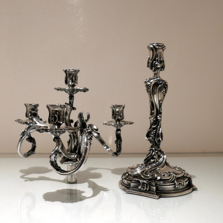 19th Century Pair of Antique Four-Light Cast Silverplate Candelabra, circa 1865 In Good Condition For Sale In 53-64 Chancery Lane, London
