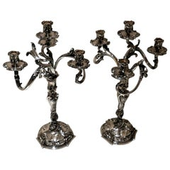 19th Century Pair of Antique Four-Light Cast Silverplate Candelabra, circa 1865