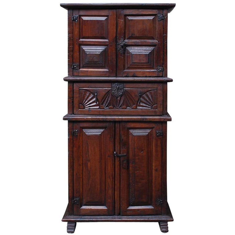 19th Century Primitive Chestnut Wood Cabinet For Sale