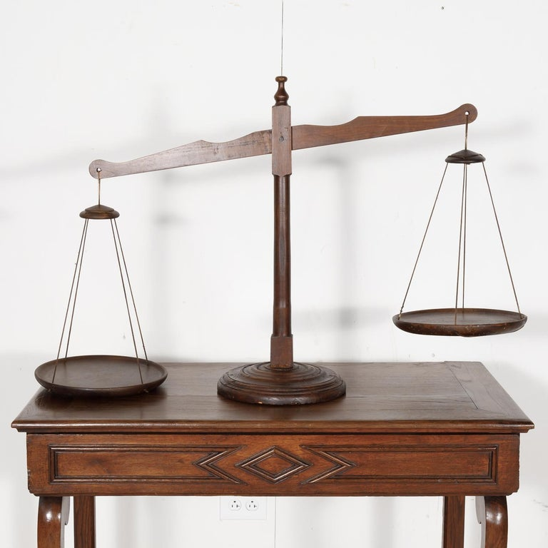 19th Century Primitive French Walnut Balance Scales For Sale 4