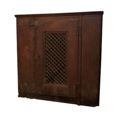 19th Century Primitive Painted Cupboard with Mazework