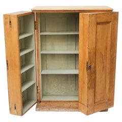 19th Century Primitive Pine Wood Counter Cabinet with Two Deep Swinging Doors