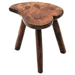 19th Century Primitive Spanish Heart Shaped Olive Wood Stool / Table