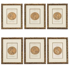 19th Century Set of Six Prints of Roman Emperors in Brush Gold Custom Frame