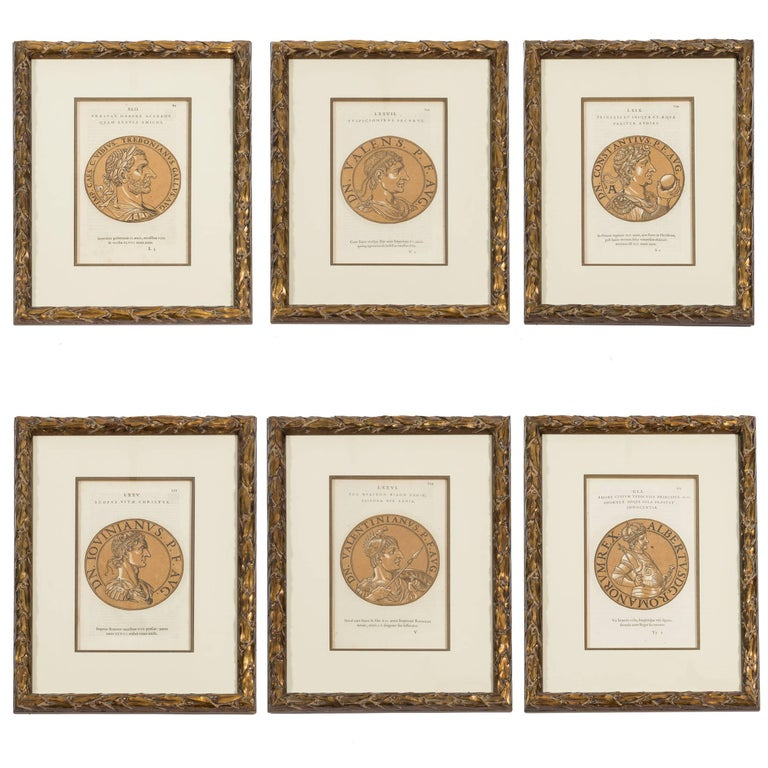 19th Century Set of Six Prints of Roman Emperors in Brush Gold ...