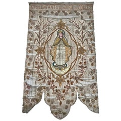 19th Century Processional Banner with Painted Portrait and Appliqued Details