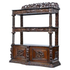 19th Century Profusely Carved Victorian Oak Buffet