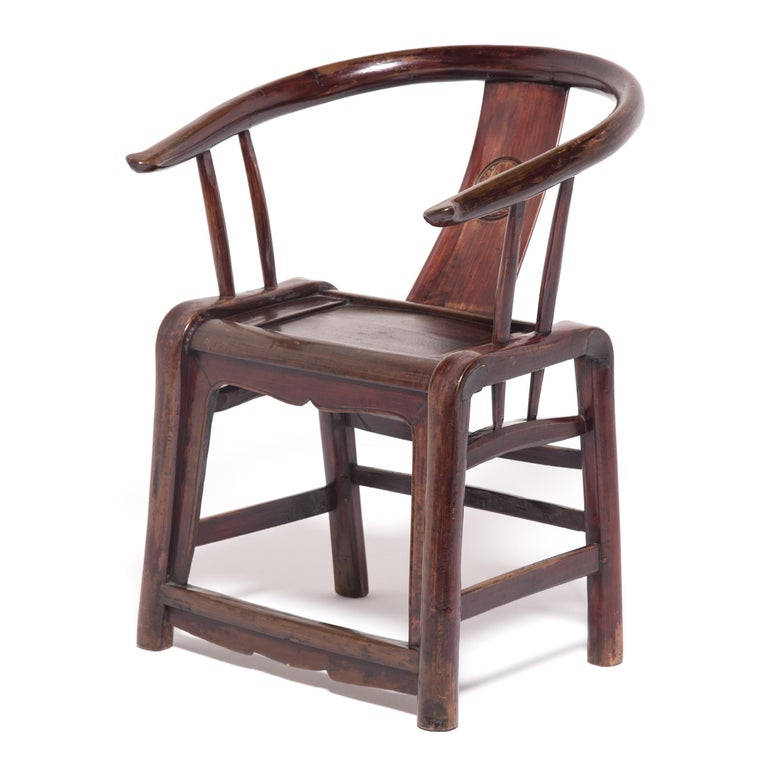 Qing 19th Century Provincial Chinese Round Back Chair For Sale
