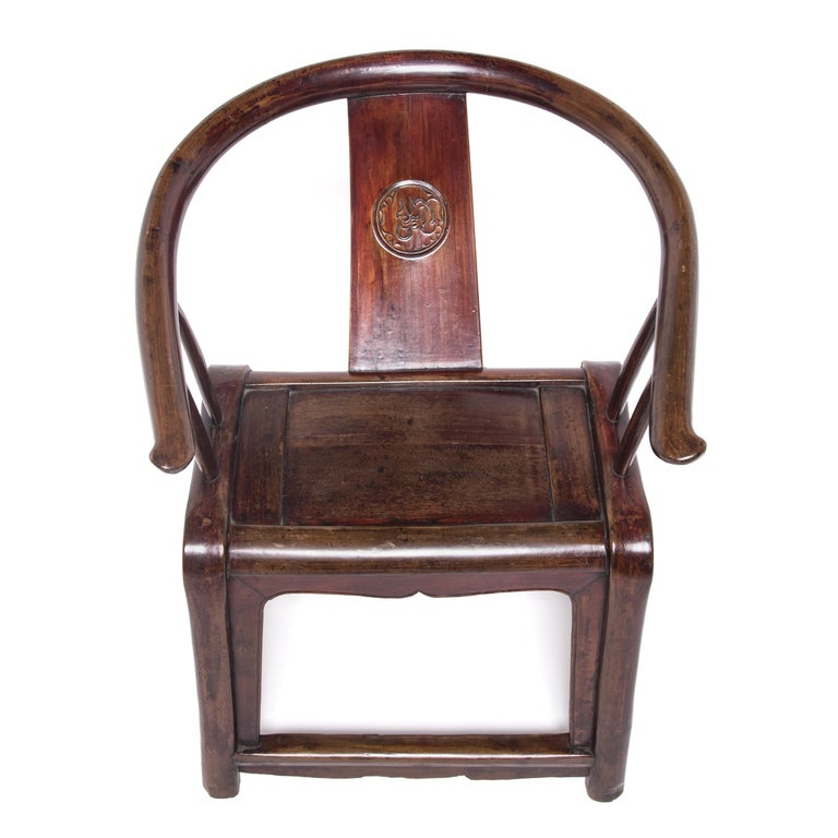 Elm 19th Century Provincial Chinese Round Back Chair For Sale