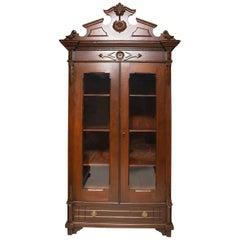 19th Century Puerto Rico Cedar Vitrine China Cabinet