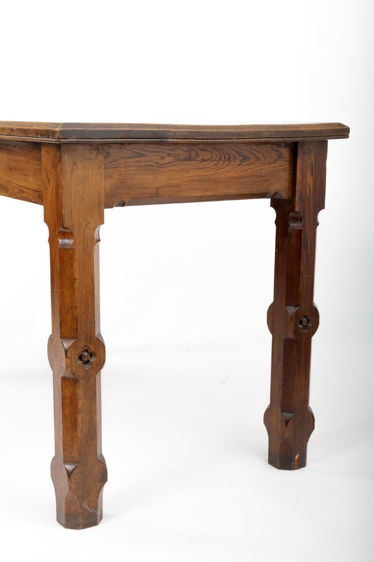 19th Century Pugin Style English Pine Table For Sale 2