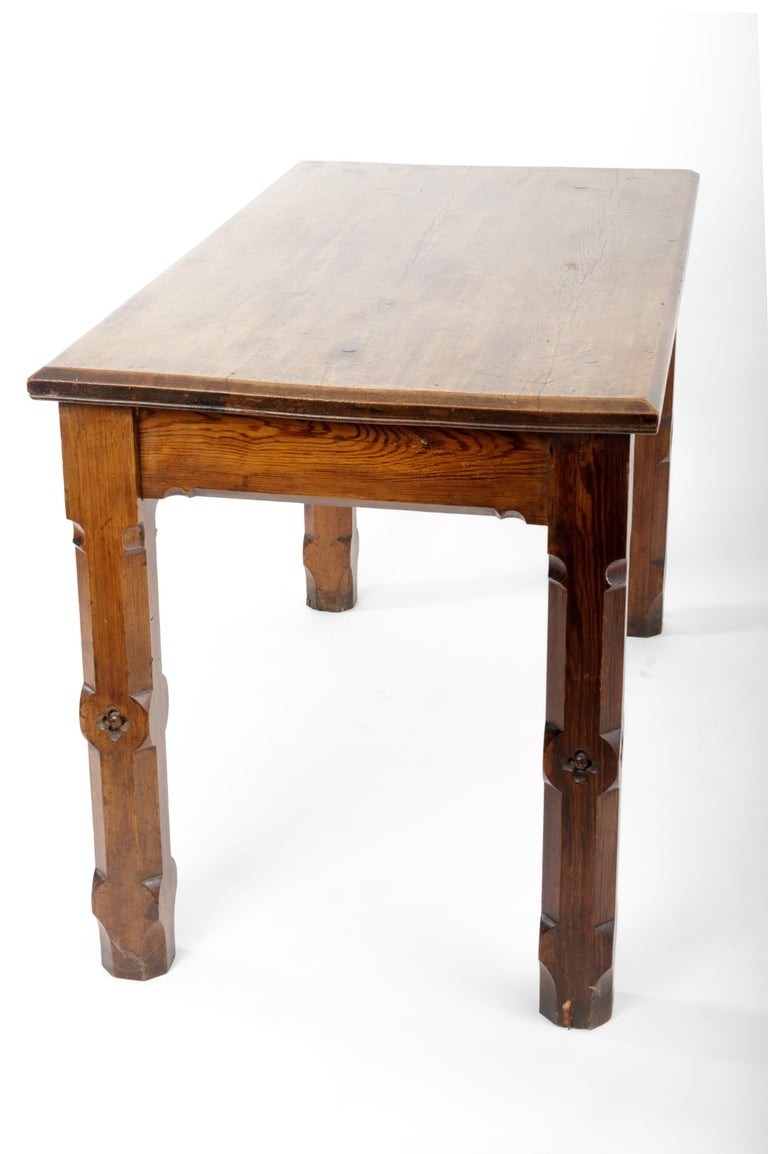 19th Century Pugin Style English Pine Table For Sale 4
