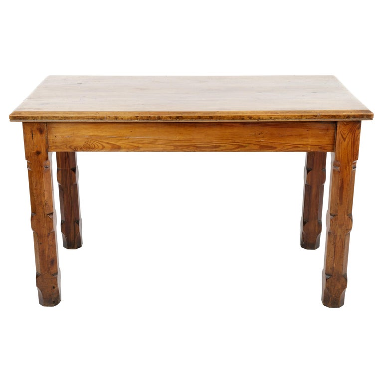 19th Century Pugin Style English Pine Table For Sale