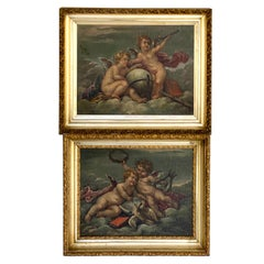 19th Century Putti Allegory Paintings in the Style of Boucher, Near Pair