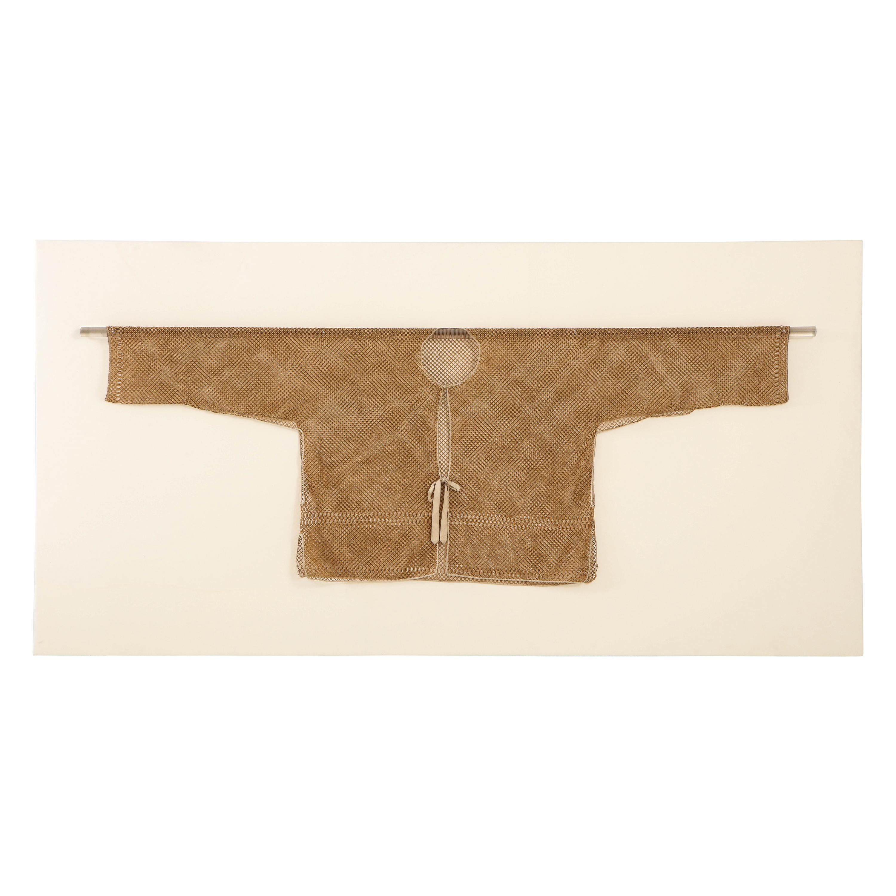 19th Century Qing Dynasty Chinese Bamboo Jacket in Frame