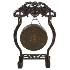 19th Century Qing Dynasty Chinese Hand Forged Brushed Bronze Ceremonial Gong
