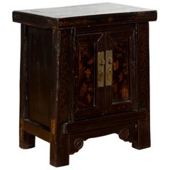 19th Century Qing Dynasty Chinese Shanxi Bedside Cabinet with Chinoiserie Décor