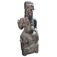 19th Century Qing Dynasty Hand Carved Wood Figure of Guanyu