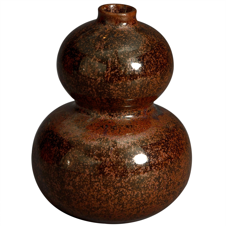 19th Century Qing Dynasty Tea Dust Glazed Gourd Vase