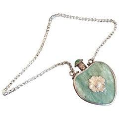 19th Century Qing Tibetan Jadeite Silver and Jade Perfume Pendant