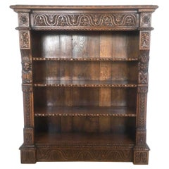 19th Century Quality Carved Oak Antique Open Bookcase