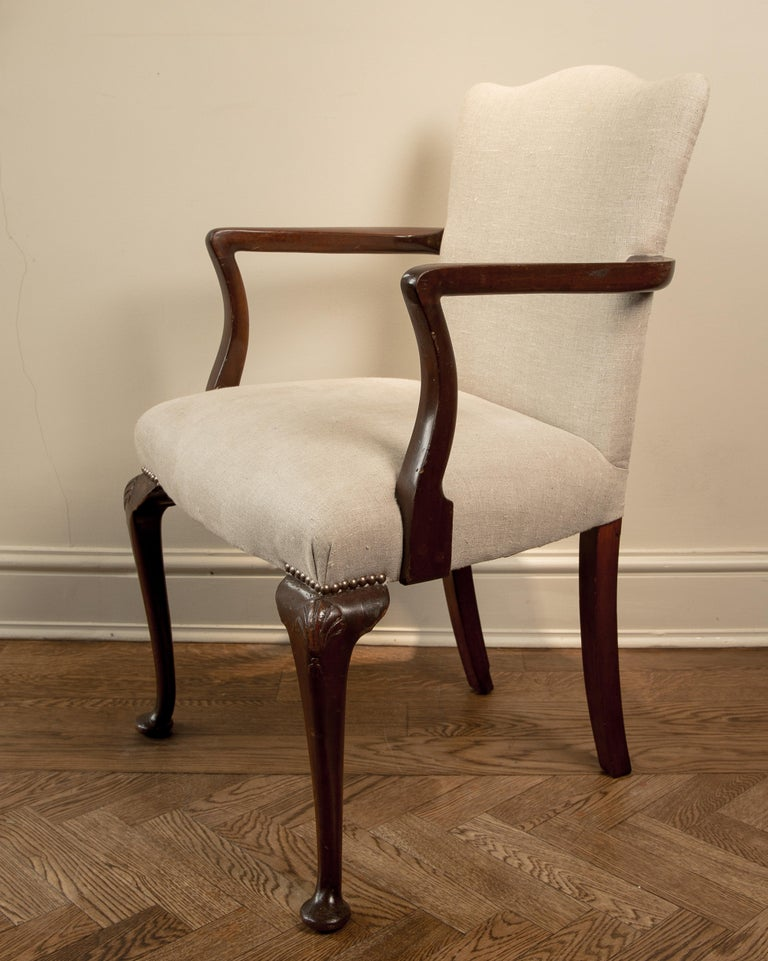 Victorian 19th Century Queen Ann Camel Back Elbow Chair For Sale