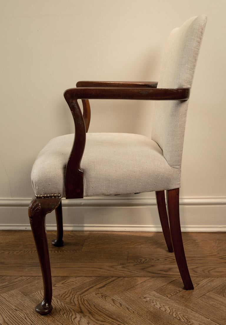 Varnished 19th Century Queen Ann Camel Back Elbow Chair For Sale
