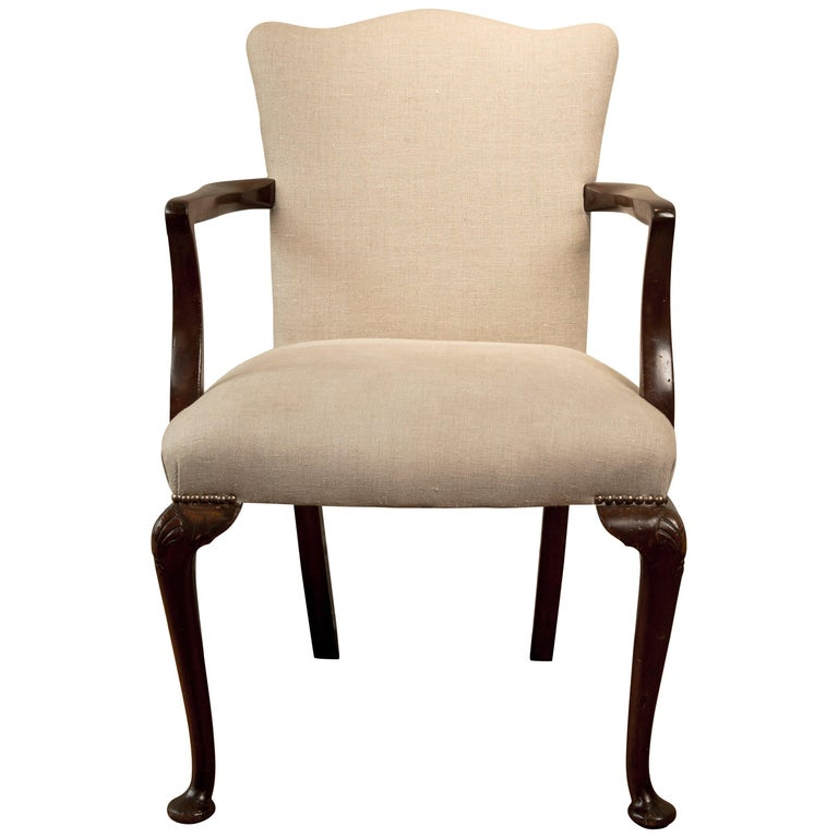 19th Century Queen Ann Camel Back Elbow Chair For Sale