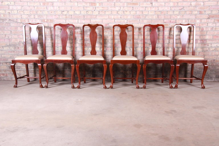 A gorgeous set of six antique Queen Anne mahogany dining chairs,