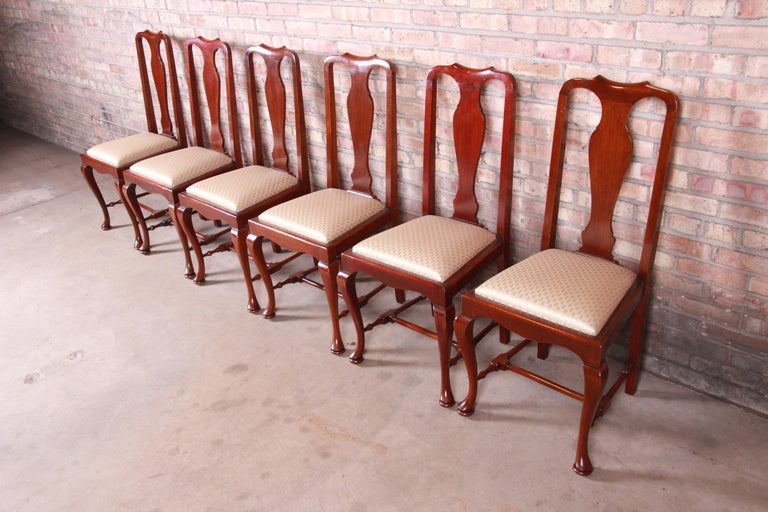 Upholstery 19th Century Queen Anne Mahogany Dining Chairs, Set of Six For Sale