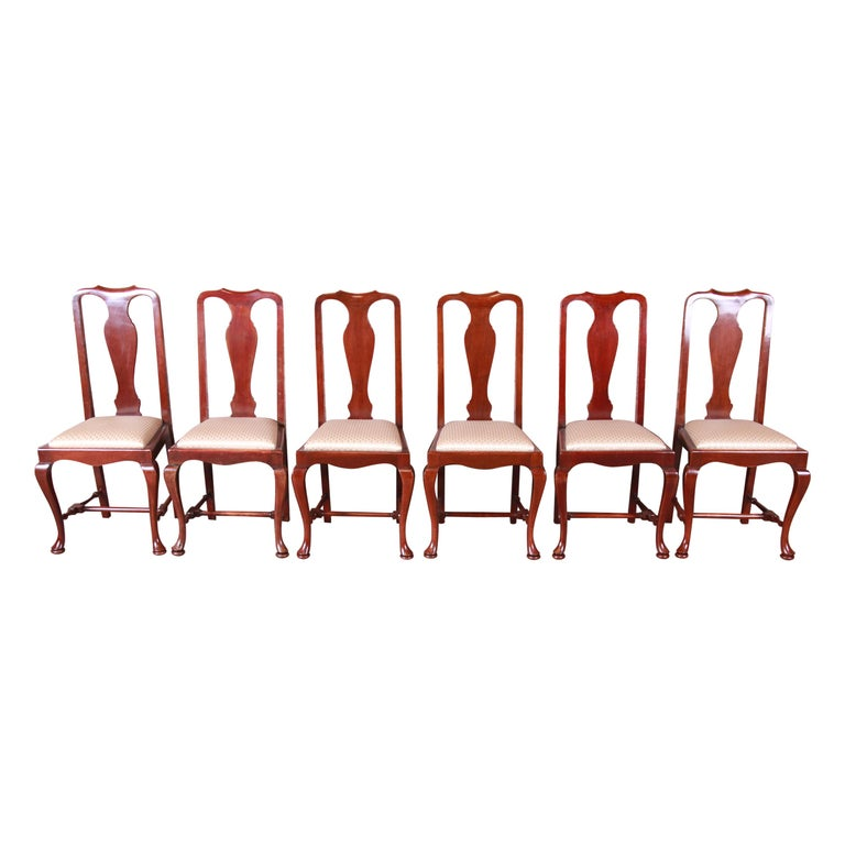 19th Century Queen Anne Mahogany Dining Chairs, Set of Six For Sale