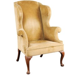 19th Century Queen Anne Style Walnut Wing Chair