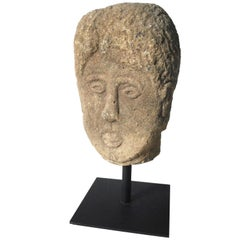 19th Century Quirky English Stone Head on Stand
