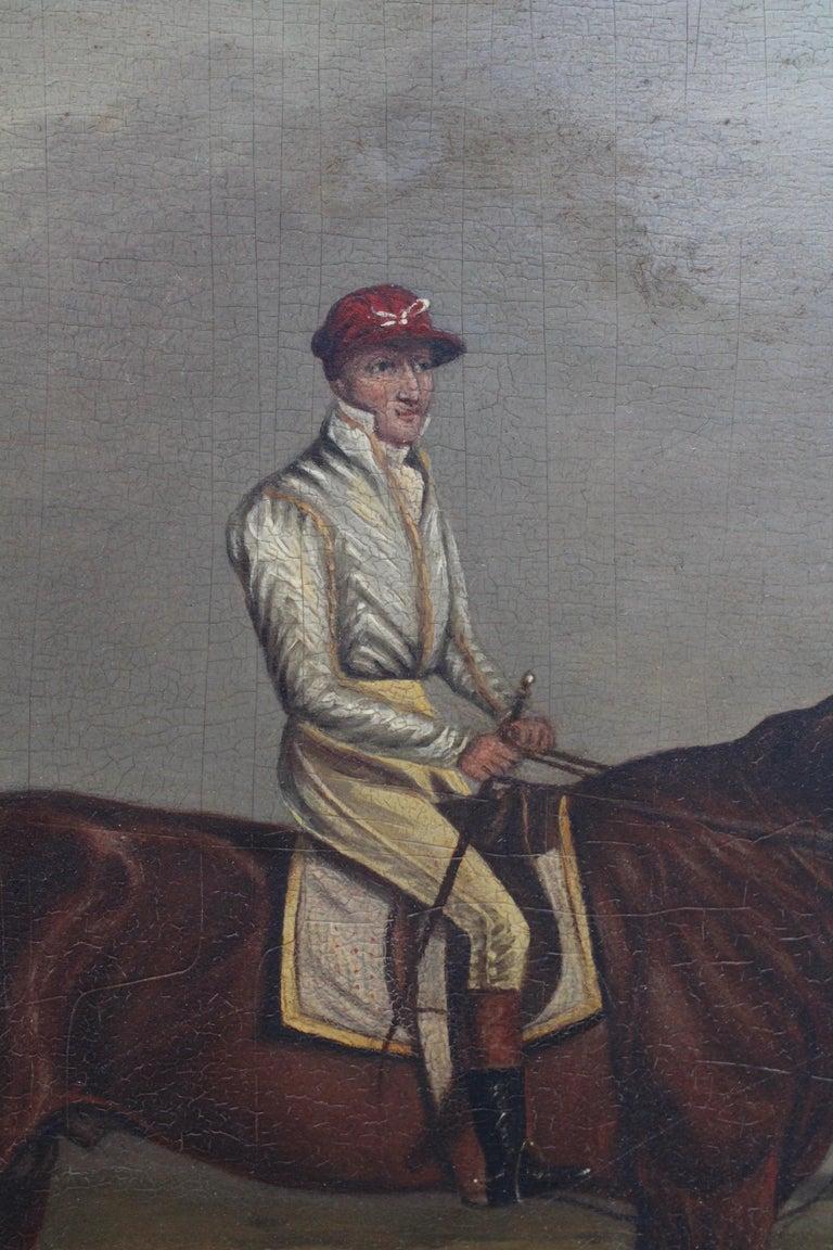 English 19th Century Racing Jockey Oil on Canvas Painting, Firmado Por Jhon E. Ferneley For Sale