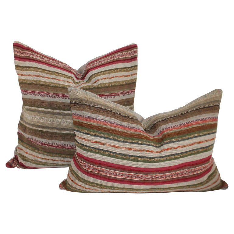 19th Century Rag Rug Country Colors Pillows, 2 For Sale