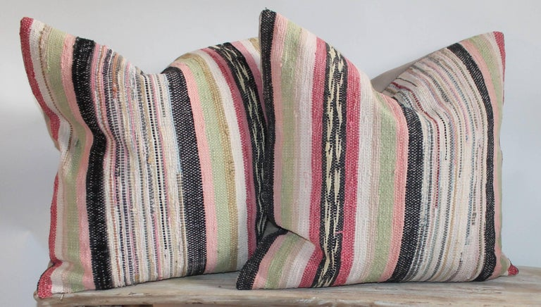 Other 19th Century Rag Rug Pillows, Four For Sale
