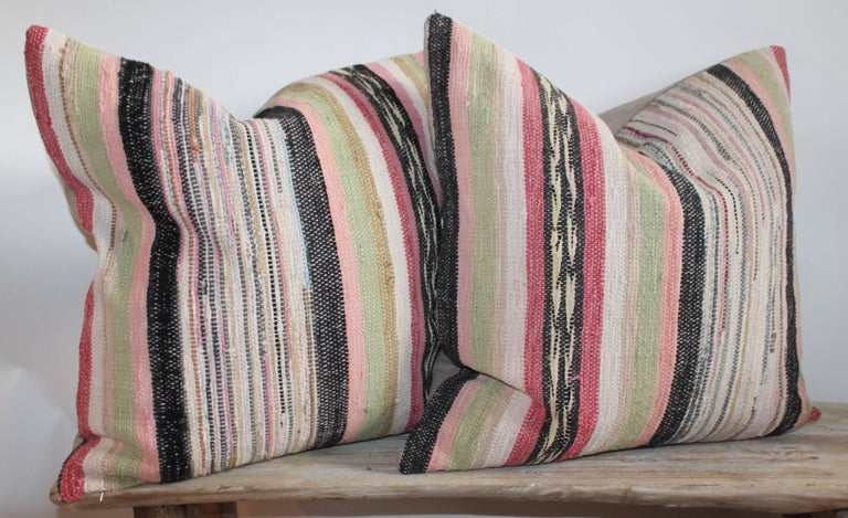 American 19th Century Rag Rug Pillows, Four For Sale