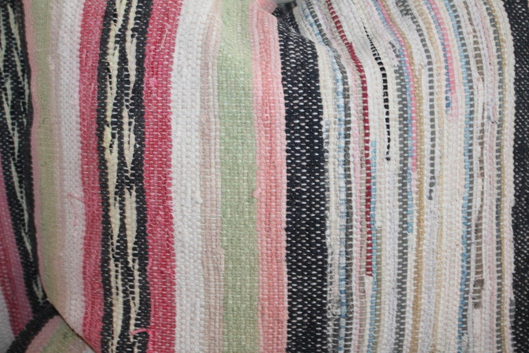 Hand-Crafted 19th Century Rag Rug Pillows, Four For Sale