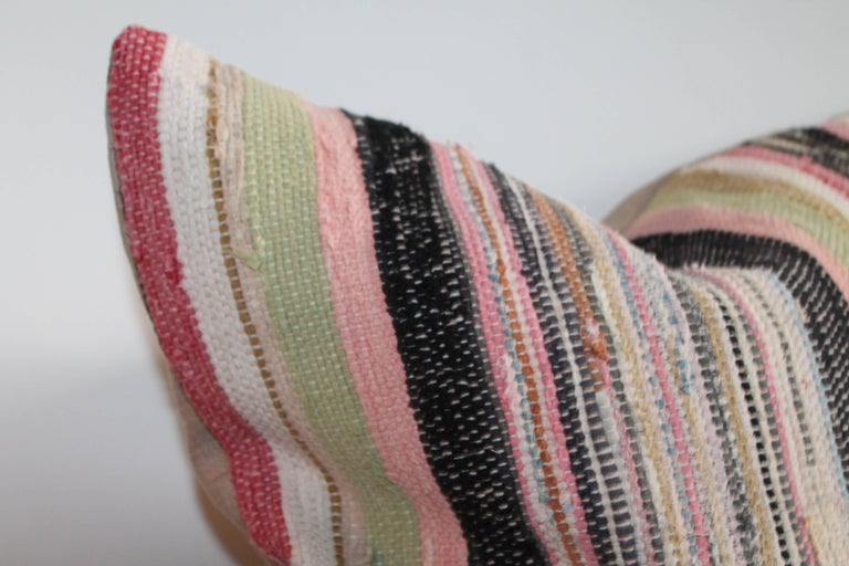 19th Century Rag Rug Pillows, Four In Excellent Condition For Sale In Los Angeles, CA
