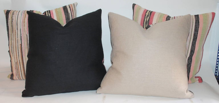 20th Century 19th Century Rag Rug Pillows, Four For Sale