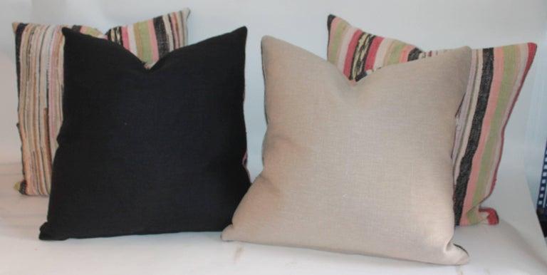 Cotton 19th Century Rag Rug Pillows, Four For Sale