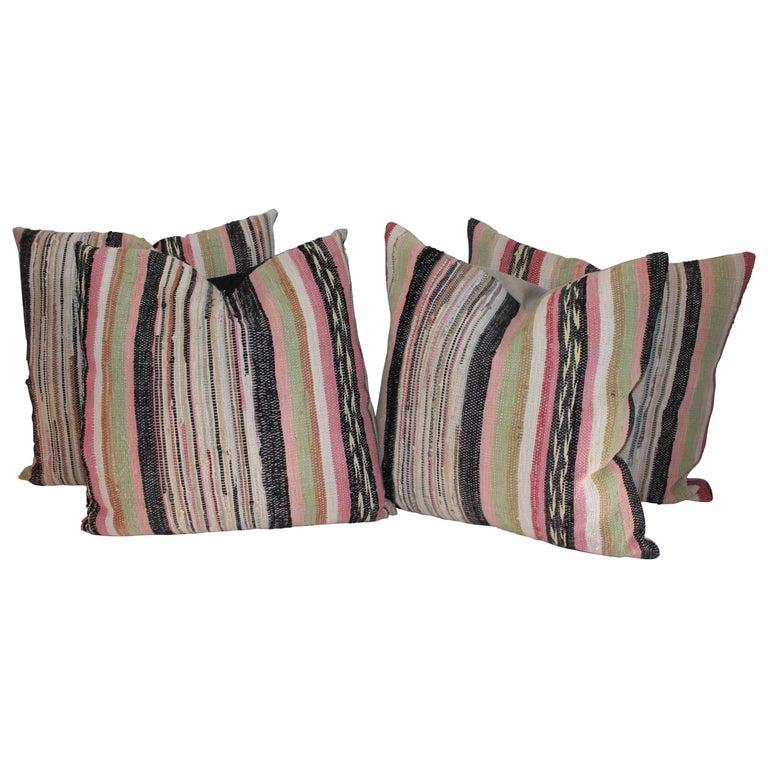 19th Century Rag Rug Pillows, Four For Sale