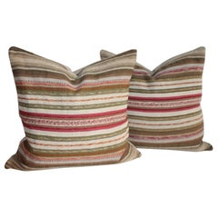 19th Century Rag Rug Pillows, Pair